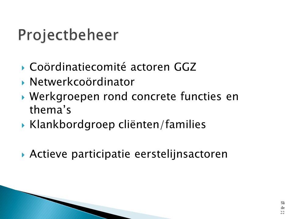  Coördinatiecomité actoren GGZ  Netwerkcoördinator  Werkgroepen rond concrete functies en thema's  Klankbordgroep cliënten/families  Actieve part