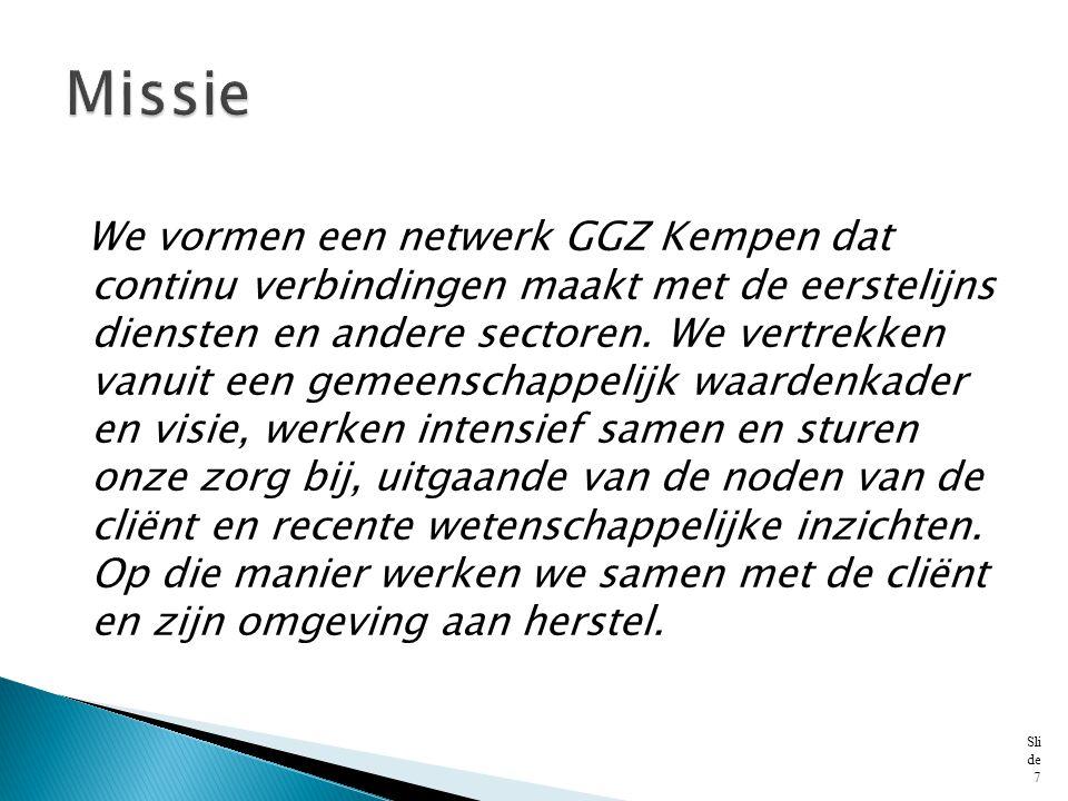 We vormen een netwerk GGZ Kempen dat continu verbindingen maakt met de eerstelijns diensten en andere sectoren. We vertrekken vanuit een gemeenschappe