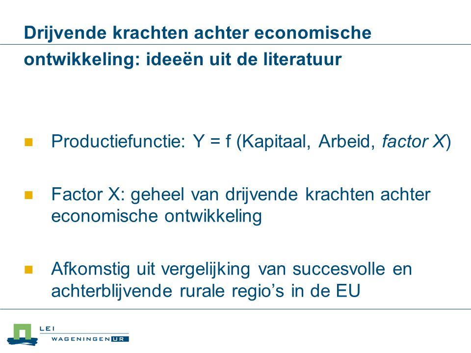 Drijvende krachten achter economische ontwikkeling: ideeën uit de literatuur Productiefunctie: Y = f (Kapitaal, Arbeid, factor X) Factor X: geheel van