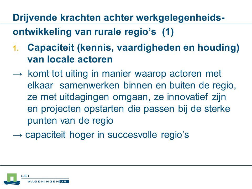 Drijvende krachten achter werkgelegenheids- ontwikkeling van rurale regio's (1)  Capaciteit (kennis, vaardigheden en houding) van locale actoren → k