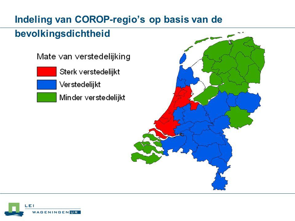 Indeling van COROP-regio's op basis van de bevolkingsdichtheid