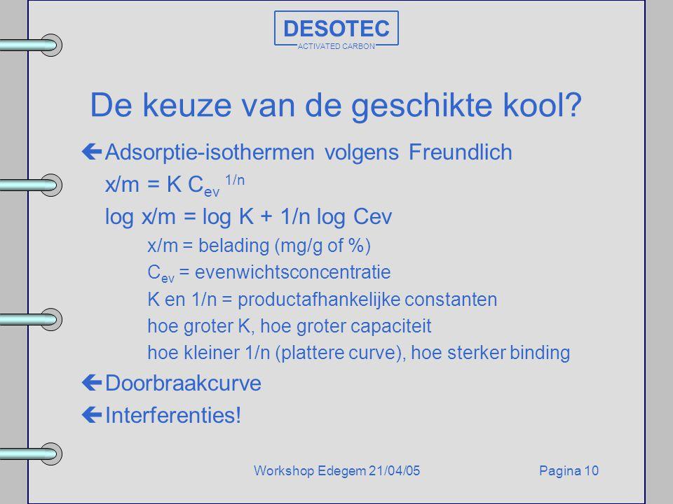 Pagina 10Workshop Edegem 21/04/05 DESOTEC ACTIVATED CARBON De keuze van de geschikte kool? çAdsorptie-isothermen volgens Freundlich x/m = K C ev 1/n l