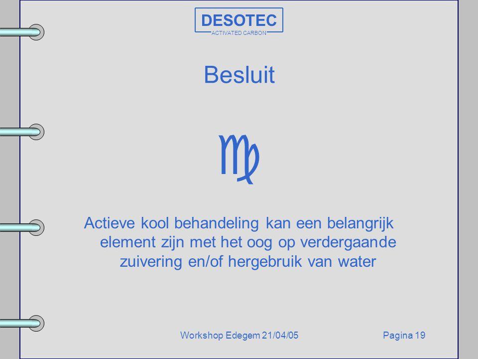 Pagina 19Workshop Edegem 21/04/05 DESOTEC ACTIVATED CARBON Besluit  Actieve kool behandeling kan een belangrijk element zijn met het oog op verdergaa