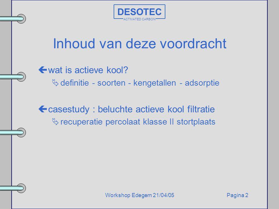 Pagina 2Workshop Edegem 21/04/05 DESOTEC ACTIVATED CARBON Inhoud van deze voordracht çwat is actieve kool?  definitie - soorten - kengetallen - adsor