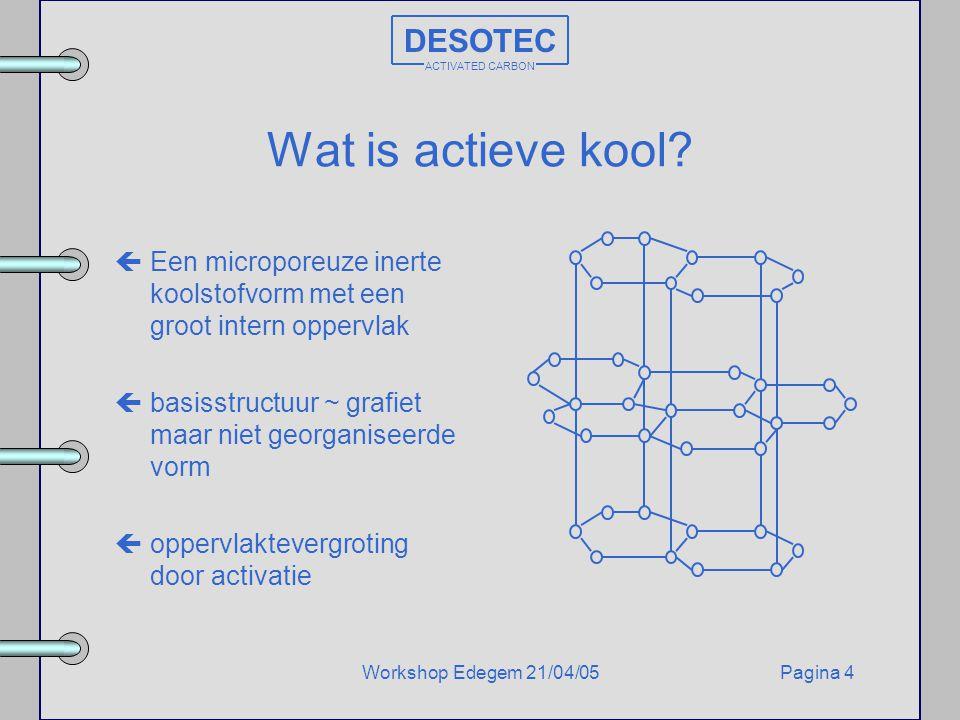 Pagina 4Workshop Edegem 21/04/05 DESOTEC ACTIVATED CARBON Wat is actieve kool? çEen microporeuze inerte koolstofvorm met een groot intern oppervlak çb