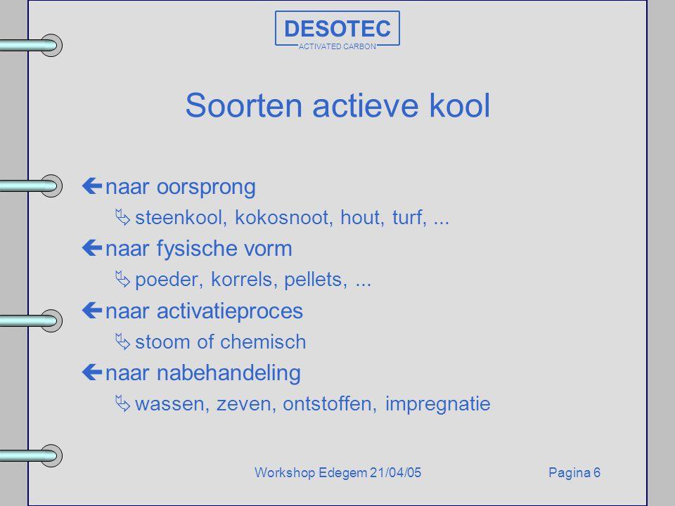 Pagina 6Workshop Edegem 21/04/05 DESOTEC ACTIVATED CARBON Soorten actieve kool çnaar oorsprong  steenkool, kokosnoot, hout, turf,... çnaar fysische v