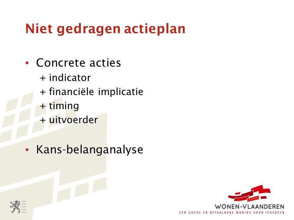 Niet gedragen actieplan Concrete acties + indicator + financiële implicatie + timing + uitvoerder Kans-belanganalyse