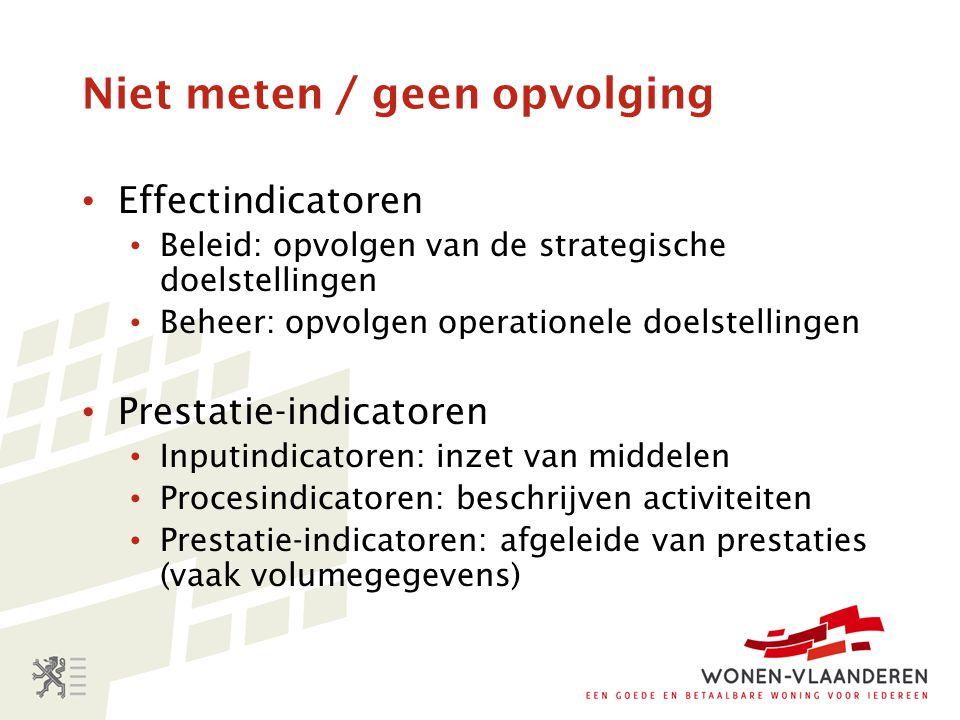 Niet meten / geen opvolging Effectindicatoren Beleid: opvolgen van de strategische doelstellingen Beheer: opvolgen operationele doelstellingen Prestat