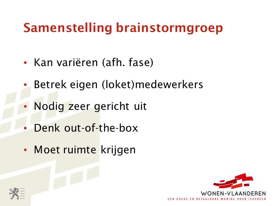 Samenstelling brainstormgroep Kan variëren (afh. fase) Betrek eigen (loket)medewerkers Nodig zeer gericht uit Denk out-of-the-box Moet ruimte krijgen