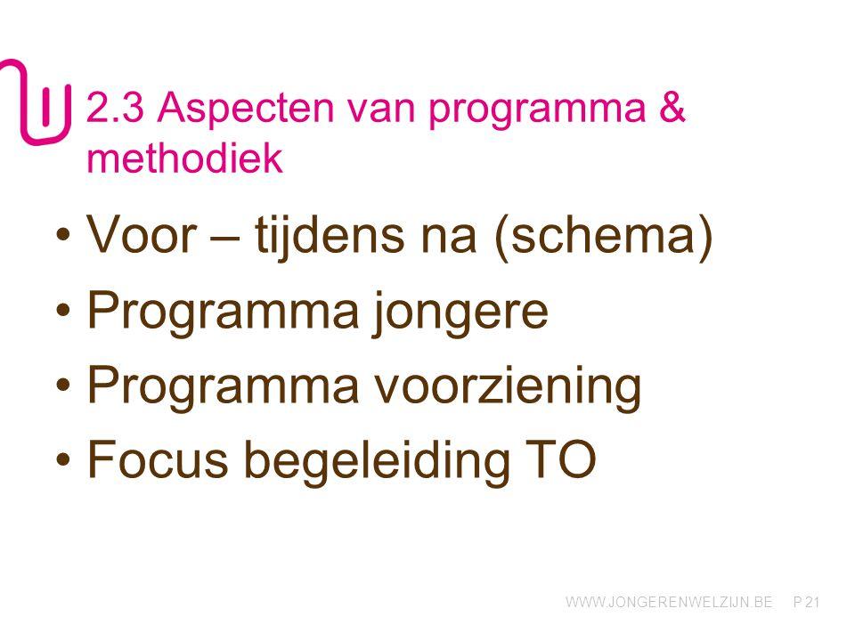 WWW.JONGERENWELZIJN.BE P 2.3 Aspecten van programma & methodiek Voor – tijdens na (schema) Programma jongere Programma voorziening Focus begeleiding TO 21
