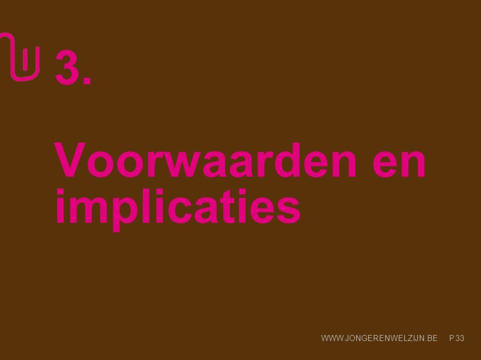 WWW.JONGERENWELZIJN.BE P 3. Voorwaarden en implicaties 33