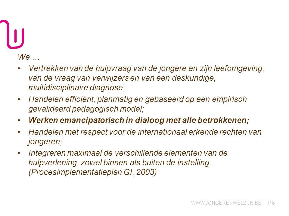 WWW.JONGERENWELZIJN.BE P 2.2 Herstelgerichte visie en time-out Specificiteit GI: 14 dagen 'hulpverlening'.