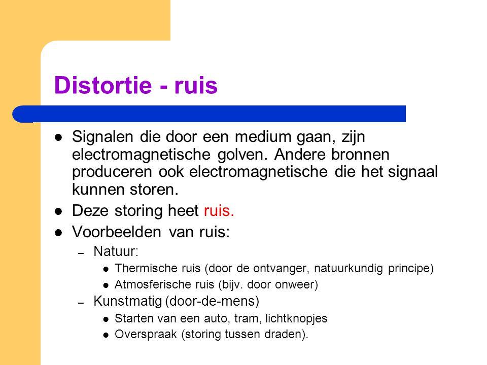 Distortie - ruis Signalen die door een medium gaan, zijn electromagnetische golven. Andere bronnen produceren ook electromagnetische die het signaal k