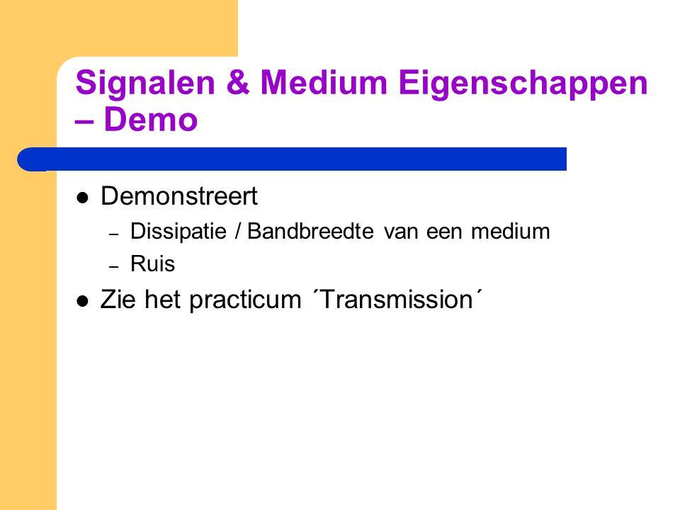 Signalen & Medium Eigenschappen – Demo Demonstreert – Dissipatie / Bandbreedte van een medium – Ruis Zie het practicum ´Transmission´