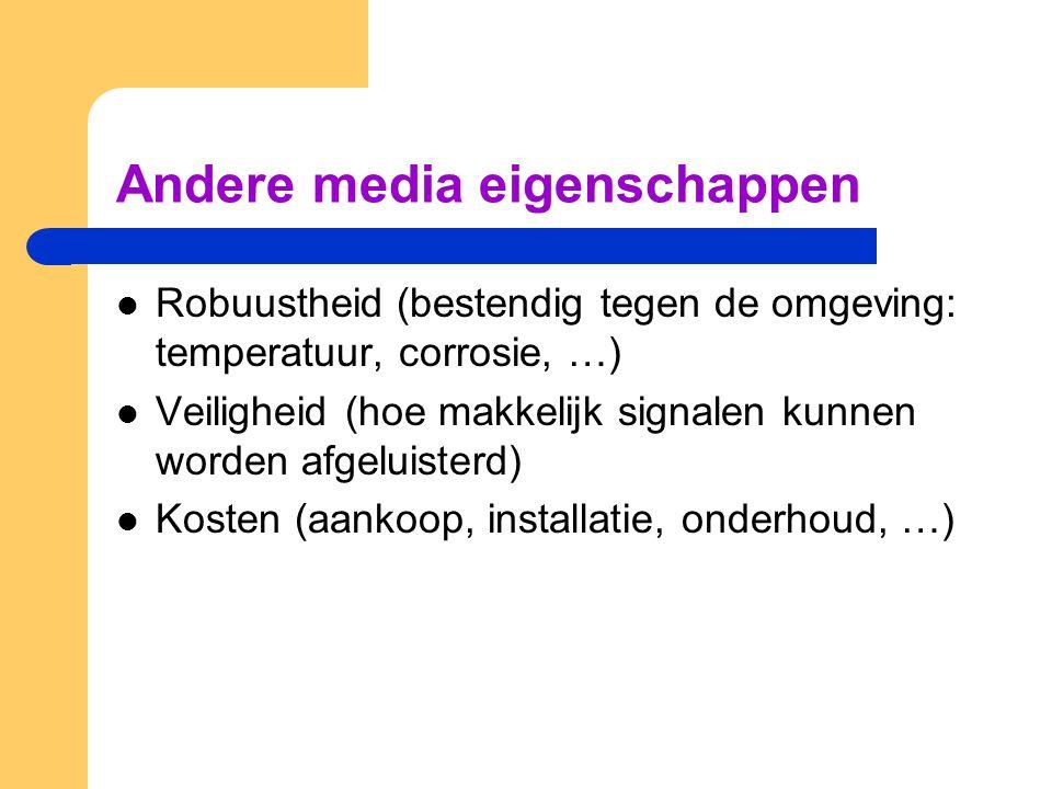 Andere media eigenschappen Robuustheid (bestendig tegen de omgeving: temperatuur, corrosie, …) Veiligheid (hoe makkelijk signalen kunnen worden afgelu