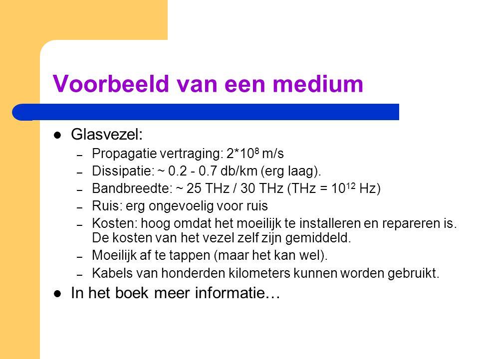Voorbeeld van een medium Glasvezel: – Propagatie vertraging: 2*10 8 m/s – Dissipatie: ~ 0.2 - 0.7 db/km (erg laag). – Bandbreedte: ~ 25 THz / 30 THz (