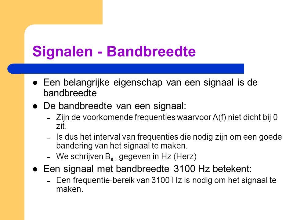 Signalen - Bandbreedte Een belangrijke eigenschap van een signaal is de bandbreedte De bandbreedte van een signaal: – Zijn de voorkomende frequenties