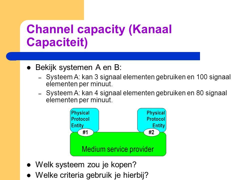 Channel capacity (Kanaal Capaciteit) Bekijk systemen A en B: – Systeem A: kan 3 signaal elementen gebruiken en 100 signaal elementen per minuut. – Sys