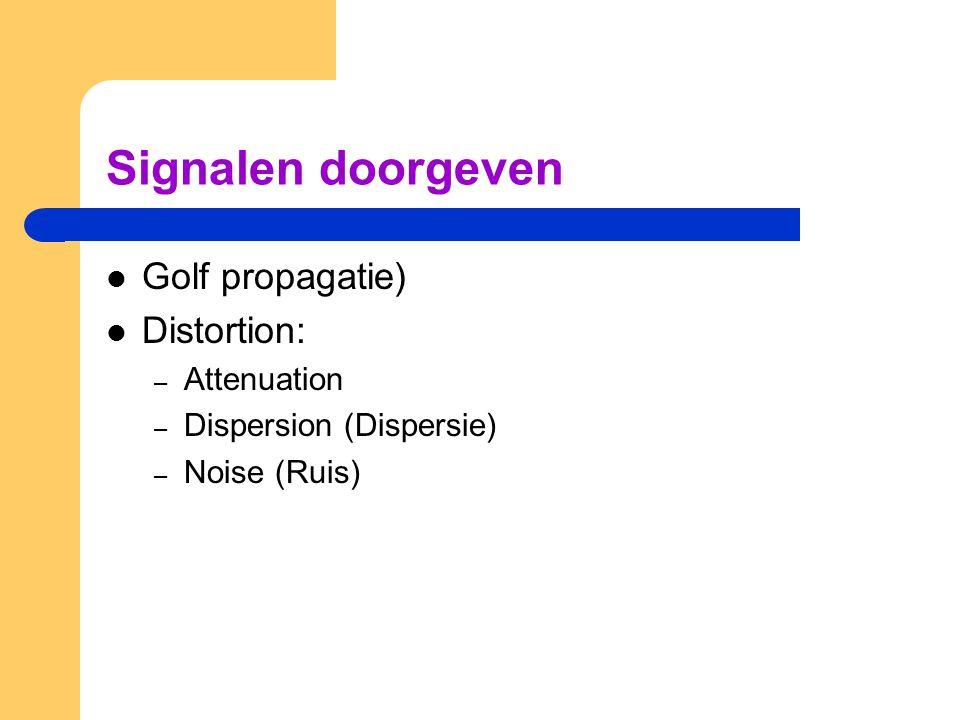 Signalen doorgeven Golf propagatie) Distortion: – Attenuation – Dispersion (Dispersie) – Noise (Ruis)