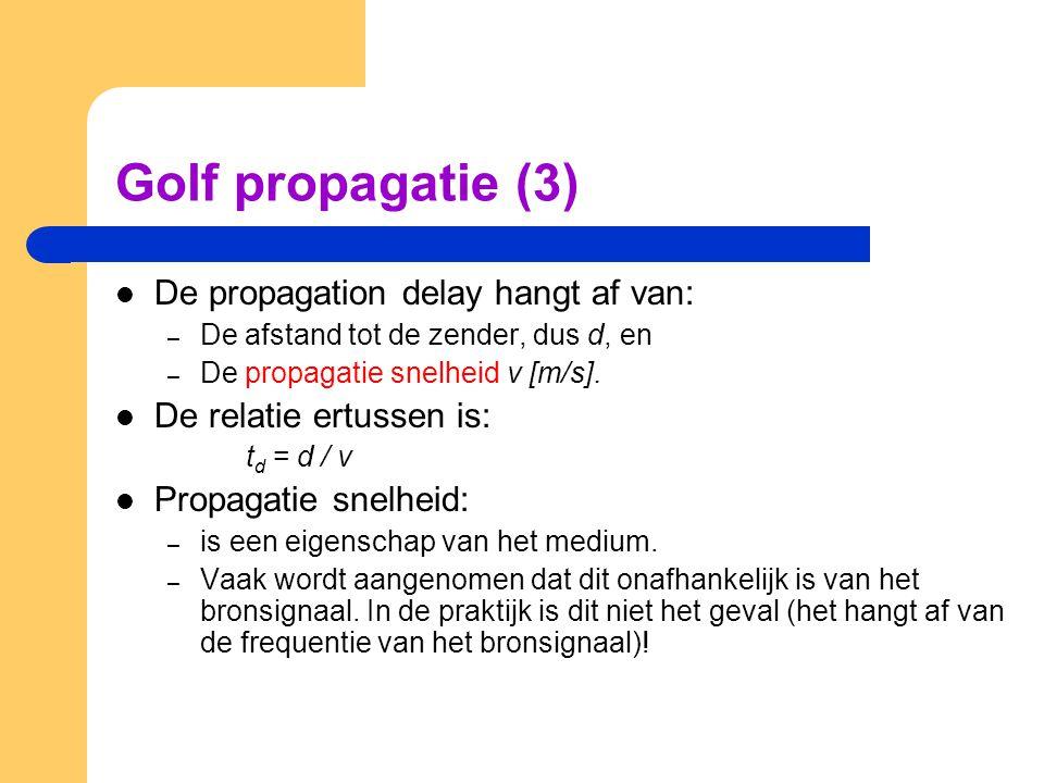 Golf propagatie (3) De propagation delay hangt af van: – De afstand tot de zender, dus d, en – De propagatie snelheid v [m/s]. De relatie ertussen is: