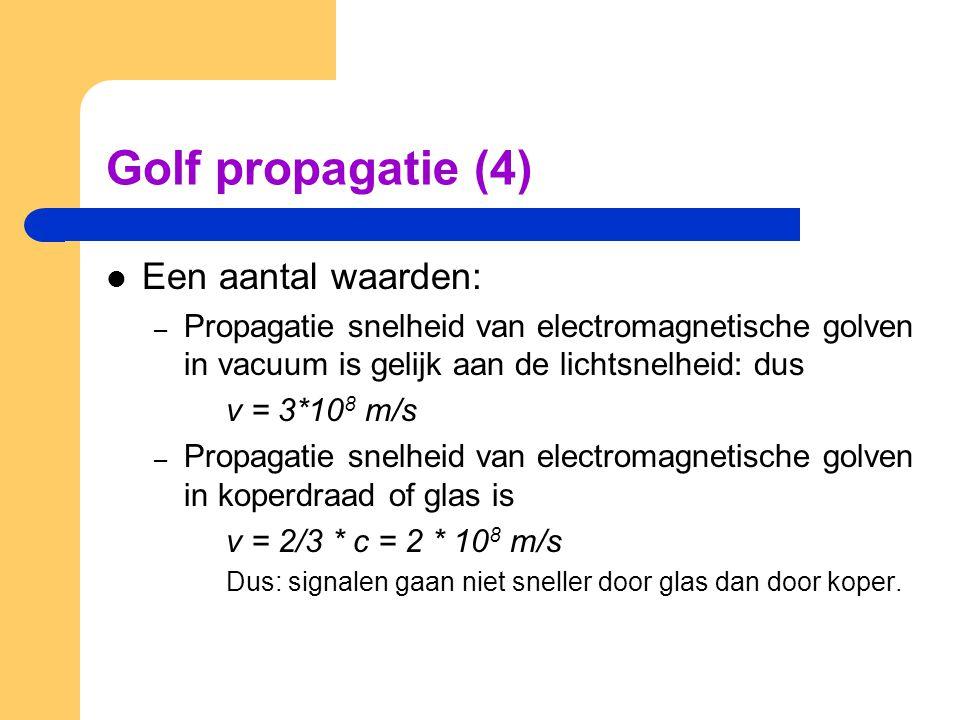 Golf propagatie (4) Een aantal waarden: – Propagatie snelheid van electromagnetische golven in vacuum is gelijk aan de lichtsnelheid: dus v = 3*10 8 m