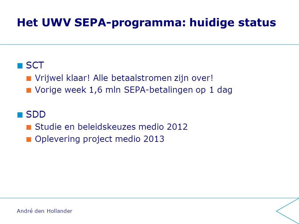 Het UWV SEPA-programma: huidige status SCT Vrijwel klaar.