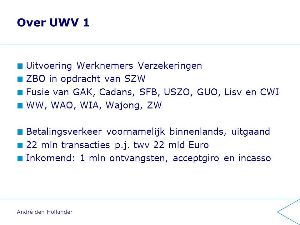 Over UWV 1 Uitvoering Werknemers Verzekeringen ZBO in opdracht van SZW Fusie van GAK, Cadans, SFB, USZO, GUO, Lisv en CWI WW, WAO, WIA, Wajong, ZW Betalingsverkeer voornamelijk binnenlands, uitgaand 22 mln transacties p.j.
