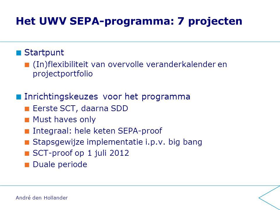 Het UWV SEPA-programma: 7 projecten Startpunt (In)flexibiliteit van overvolle veranderkalender en projectportfolio Inrichtingskeuzes voor het programma Eerste SCT, daarna SDD Must haves only Integraal: hele keten SEPA-proof Stapsgewijze implementatie i.p.v.