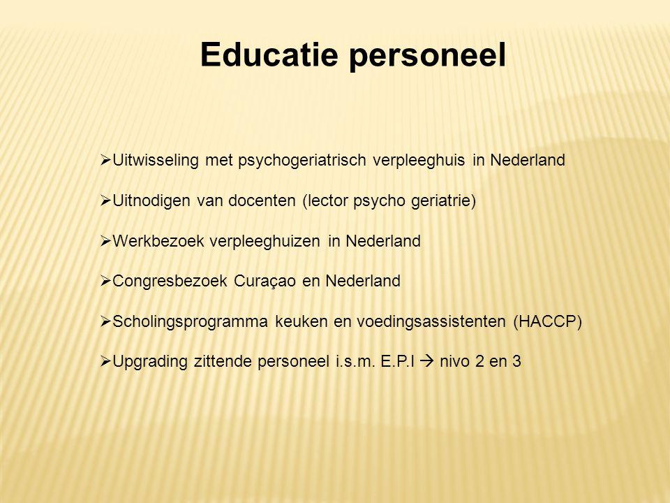 Educatie personeel  Uitwisseling met psychogeriatrisch verpleeghuis in Nederland  Uitnodigen van docenten (lector psycho geriatrie)  Werkbezoek ver