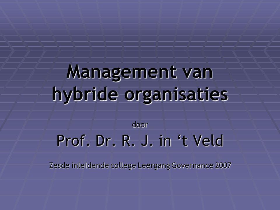 Management van hybride organisaties door Prof. Dr. R. J. in 't Veld Zesde inleidende college Leergang Governance 2007