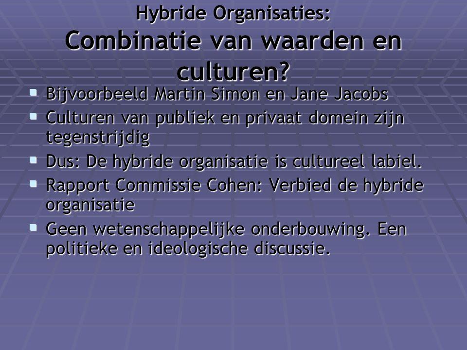 Hybride Organisaties: Combinatie van waarden en culturen?  Bijvoorbeeld Martin Simon en Jane Jacobs  Culturen van publiek en privaat domein zijn teg