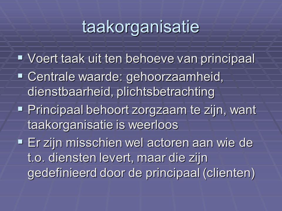 taakorganisatie  Voert taak uit ten behoeve van principaal  Centrale waarde: gehoorzaamheid, dienstbaarheid, plichtsbetrachting  Principaal behoort