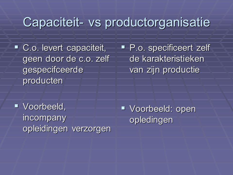 Capaciteit- vs productorganisatie  C.o. levert capaciteit, geen door de c.o. zelf gespecifceerde producten  Voorbeeld, incompany opleidingen verzorg