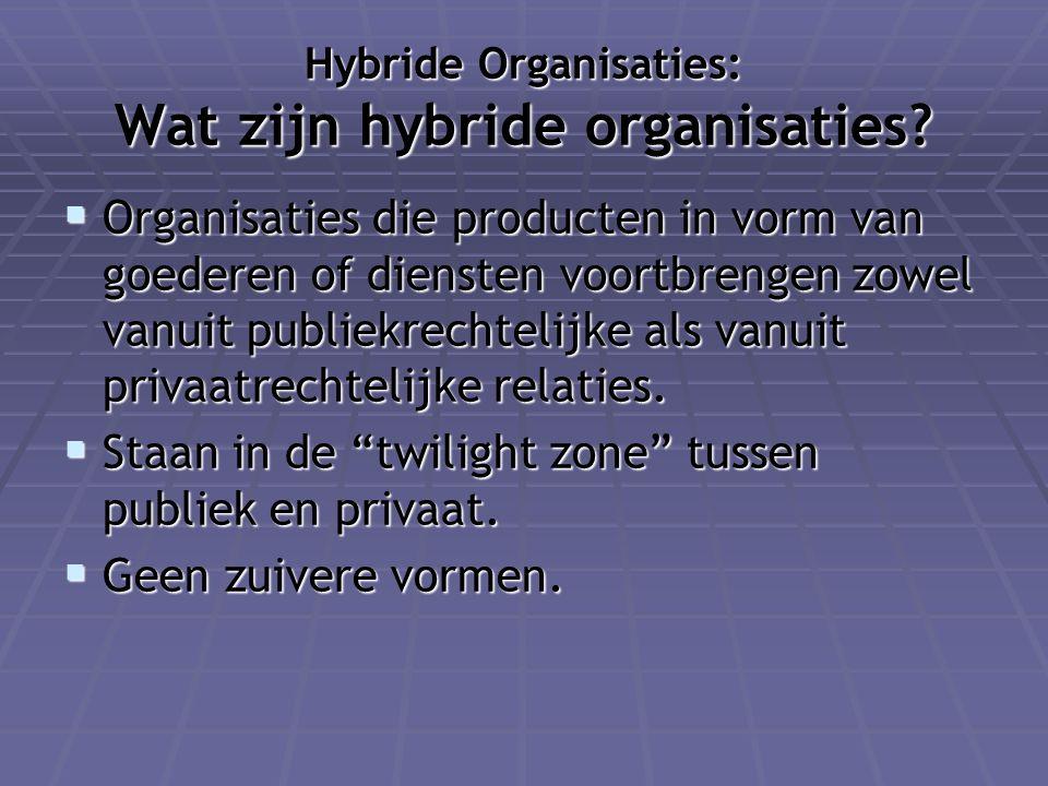 Hybride Organisaties: Wat zijn hybride organisaties?  Organisaties die producten in vorm van goederen of diensten voortbrengen zowel vanuit publiekre
