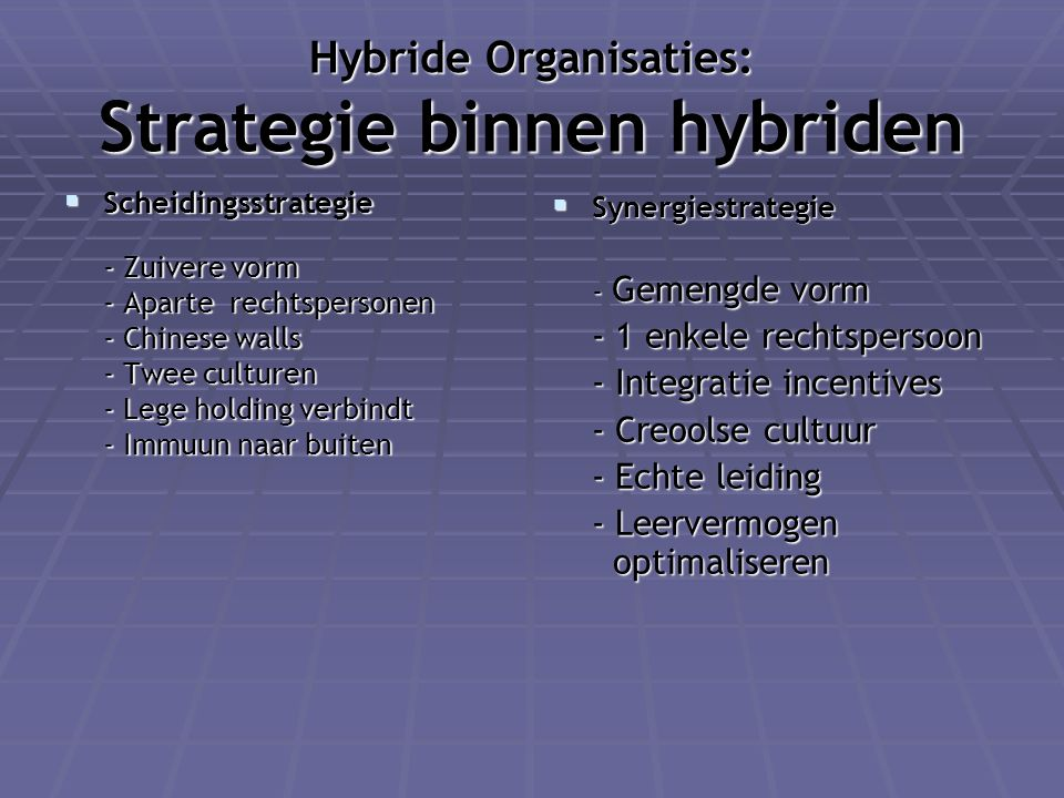 Hybride Organisaties: Strategie binnen hybriden  Scheidingsstrategie - Zuivere vorm - Zuivere vorm - Aparte rechtspersonen - Chinese walls - Twee cul
