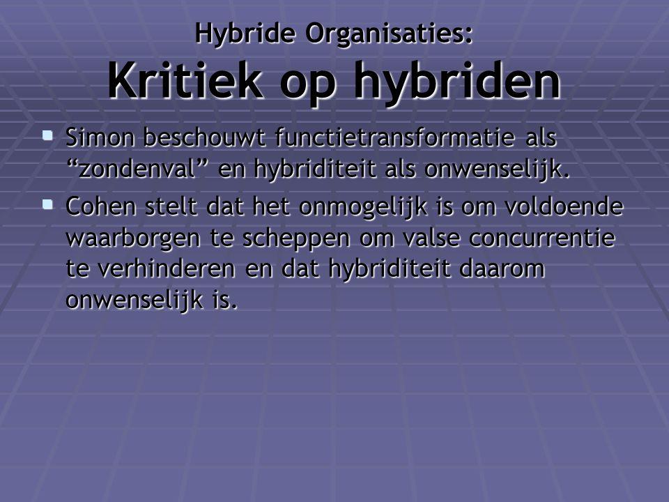 """Hybride Organisaties: Kritiek op hybriden  Simon beschouwt functietransformatie als """"zondenval"""" en hybriditeit als onwenselijk.  Cohen stelt dat het"""