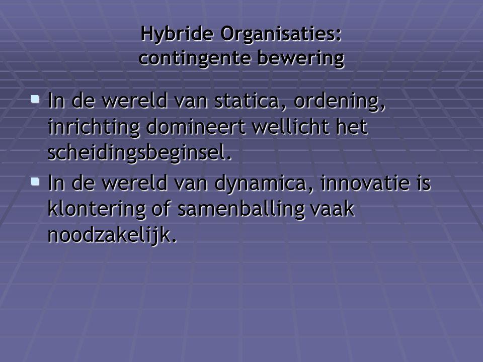 Hybride Organisaties: contingente bewering  In de wereld van statica, ordening, inrichting domineert wellicht het scheidingsbeginsel.  In de wereld