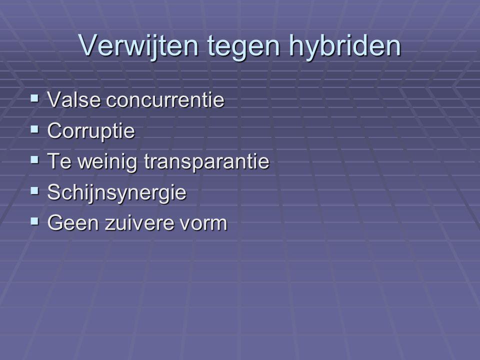 Verwijten tegen hybriden  Valse concurrentie  Corruptie  Te weinig transparantie  Schijnsynergie  Geen zuivere vorm