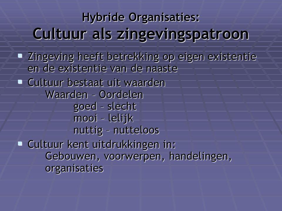 Hybride Organisaties: Cultuur als zingevingspatroon  Zingeving heeft betrekking op eigen existentie en de existentie van de naaste  Cultuur bestaat