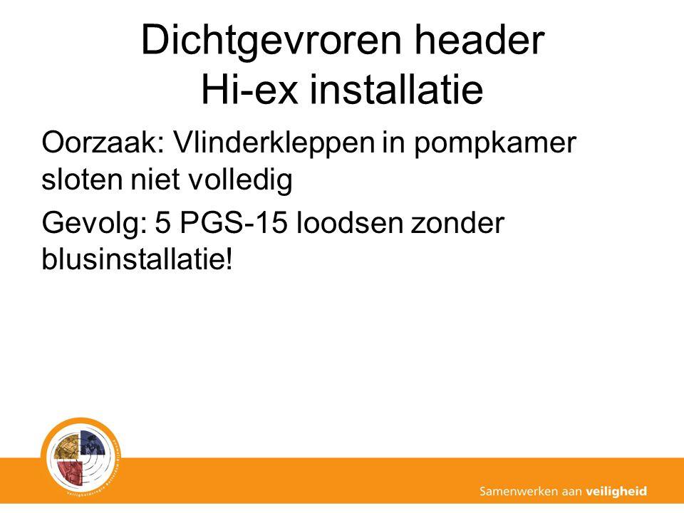 Dichtgevroren header Hi-ex installatie Oorzaak: Vlinderkleppen in pompkamer sloten niet volledig Gevolg: 5 PGS-15 loodsen zonder blusinstallatie!