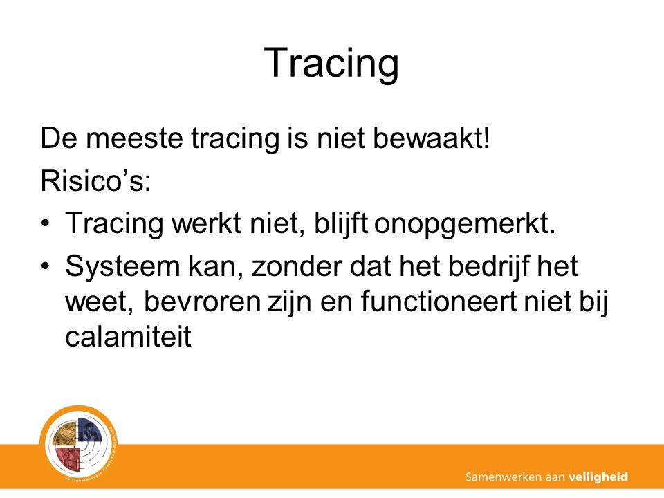 De meeste tracing is niet bewaakt! Risico's: Tracing werkt niet, blijft onopgemerkt. Systeem kan, zonder dat het bedrijf het weet, bevroren zijn en fu