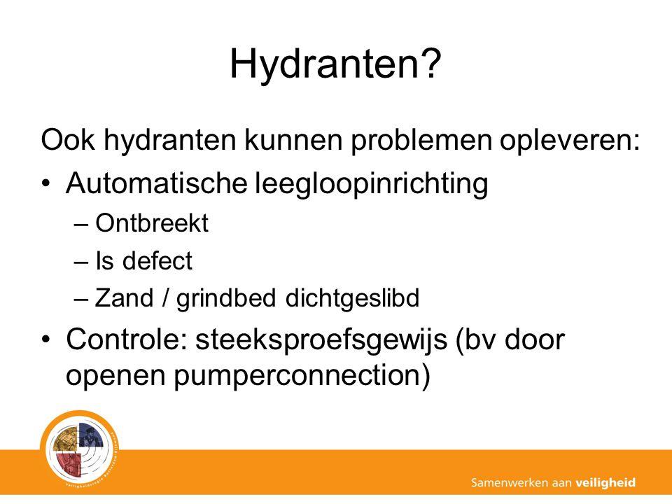 Hydranten? Ook hydranten kunnen problemen opleveren: Automatische leegloopinrichting –Ontbreekt –Is defect –Zand / grindbed dichtgeslibd Controle: ste