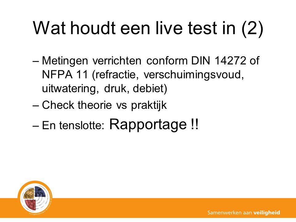 Wat houdt een live test in (2) –Metingen verrichten conform DIN 14272 of NFPA 11 (refractie, verschuimingsvoud, uitwatering, druk, debiet) –Check theo