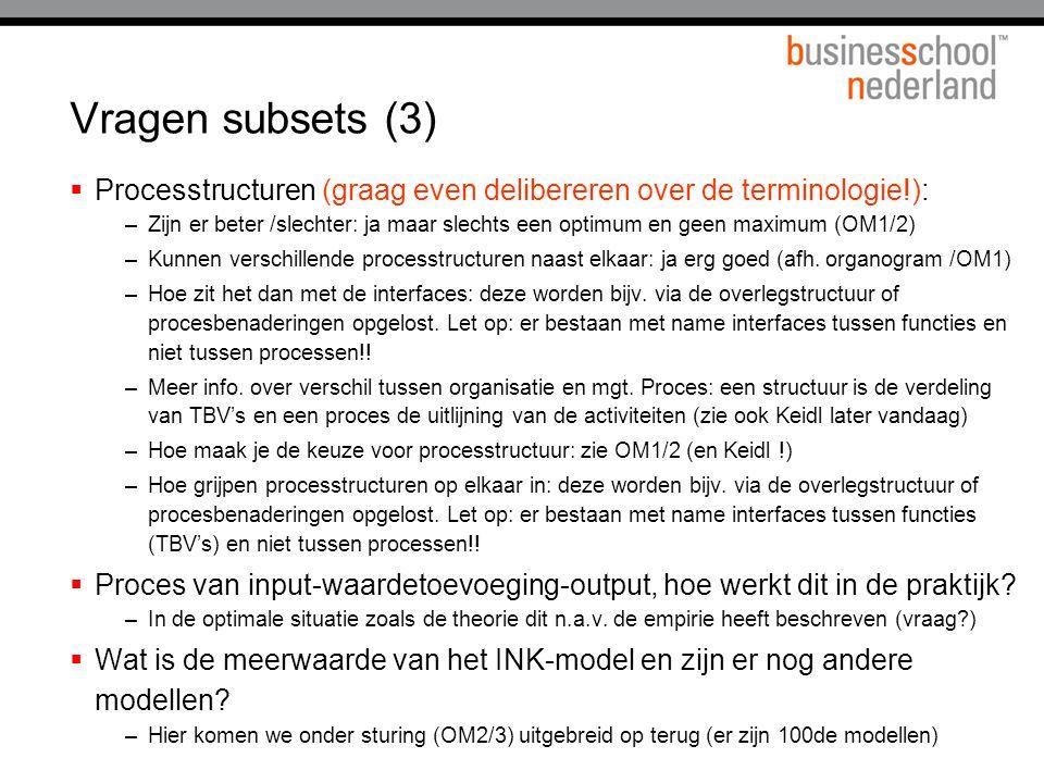 Vragen subsets (3)  Processtructuren (graag even delibereren over de terminologie!): –Zijn er beter /slechter: ja maar slechts een optimum en geen ma