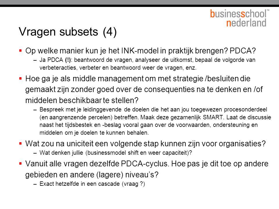Vragen subsets (4)  Op welke manier kun je het INK-model in praktijk brengen? PDCA? –Ja PDCA (!): beantwoord de vragen, analyseer de uitkomst, bepaal