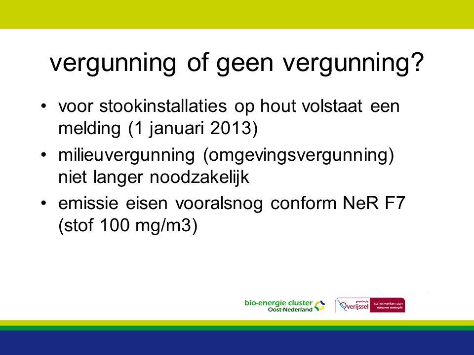 vergunning of geen vergunning? voor stookinstallaties op hout volstaat een melding (1 januari 2013) milieuvergunning (omgevingsvergunning) niet langer