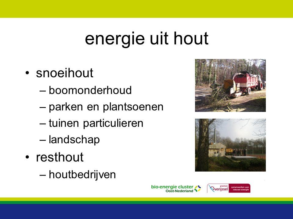 energie uit hout snoeihout –boomonderhoud –parken en plantsoenen –tuinen particulieren –landschap resthout –houtbedrijven
