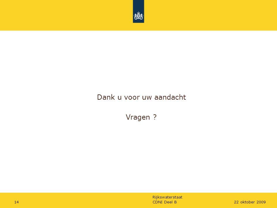 Rijkswaterstaat CDNI Deel B1422 oktober 2009 Dank u voor uw aandacht Vragen ?