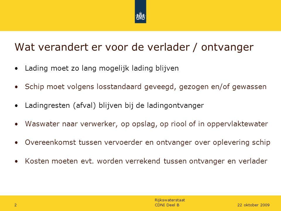Rijkswaterstaat CDNI Deel B222 oktober 2009 Wat verandert er voor de verlader / ontvanger Lading moet zo lang mogelijk lading blijven Schip moet volge