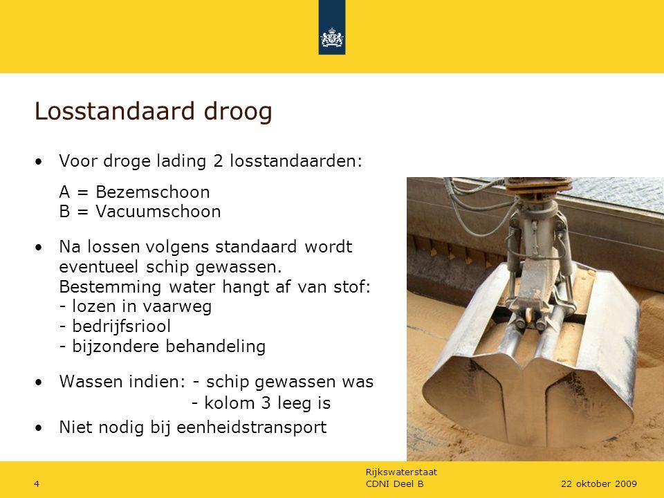 Rijkswaterstaat CDNI Deel B422 oktober 2009 Losstandaard droog Voor droge lading 2 losstandaarden: A = Bezemschoon B = Vacuumschoon Na lossen volgens